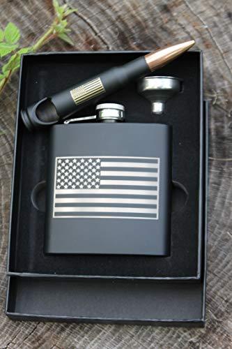 Personalized Matte Black Stainless Steel American Flag Laser Engraved Flask and American Flag 50 Caliber Bottle Opener Set-Groomsman Gift