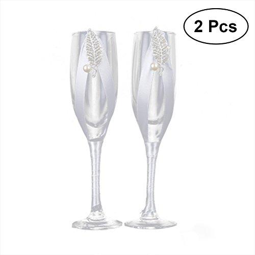 2PCSSet White Ribbon Wedding Glasses Set Champagne Toasting Glasses for Weddings Party JB-94