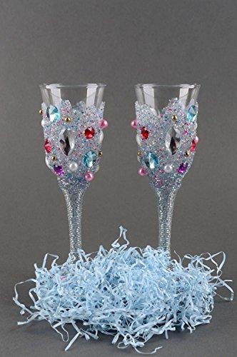 Handmade Glasses Champagne Glasses Wedding Glasses Set of 2 Items Gift Ideas