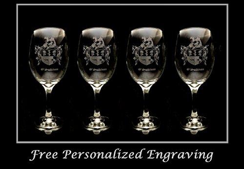 OSullivan Family Irish Coat of Arms Clear Wine Glass 18oz Set of 4 - Free Personalized Engraving Large Wine Glass Celtic Decor Irish Wedding