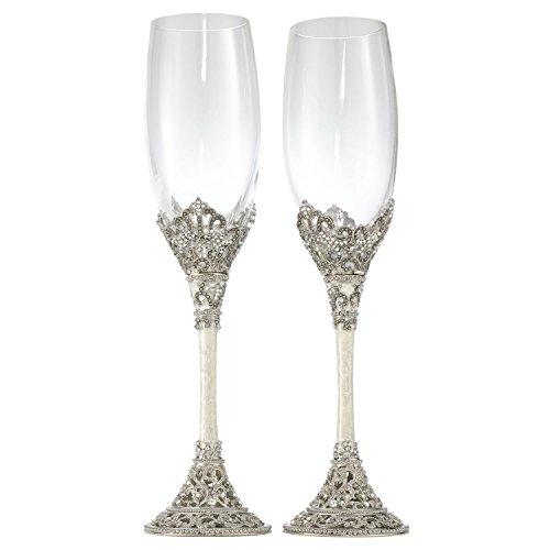 Olivia Riegel Celebation Crystal Wedding Champagne Toasting Flute Glasses Set of 2