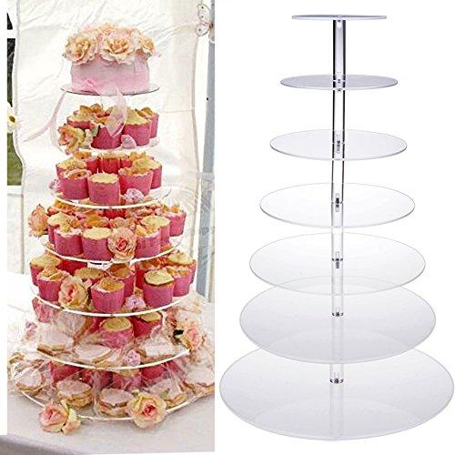soluty Cupcake StandRound Crystal Clear Acrylic Cupcake Stand Wedding Display Cake TowerUS STOCK