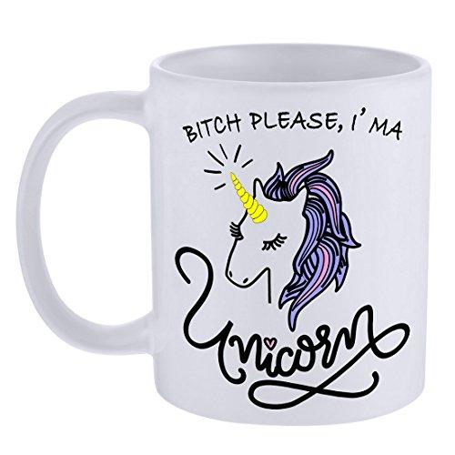 MJARTORIA Funny BITCH IMA A Unicorn Coffee Mug Tea Cup Gift