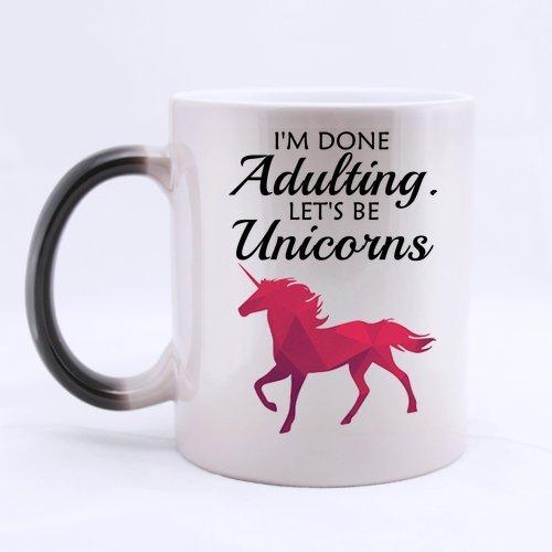 SCSF Heat Sensitive Morph Coffee Mug I am done Adulting Lets be Unicorns Color Change Mug Ceramic Tea Cup 11 Ounces