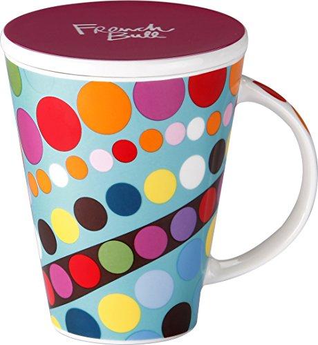 French Bull - Porcelain Mug with Lid - V Mug - Large Mug for Coffee or Tea - Bindi