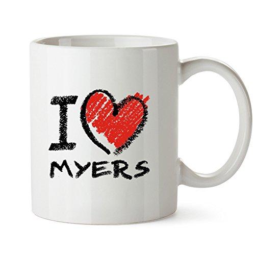 Idakoos - I love Myers chalk style - Last Names - Mug