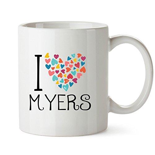 Idakoos - I love Myers colorful hearts - Last Names - Mug