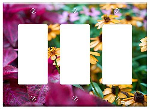 Switch Plate Triple RockerGFCI - Flower Botanical Garden Summer Spring Macro