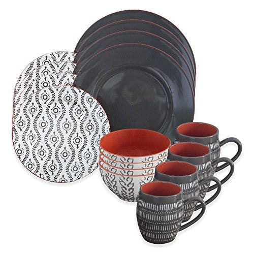 Dinnerware Set Includes 4 dinner plates 4 salad plates 4 bowls 4 mugs Dishwasher and microwave safe