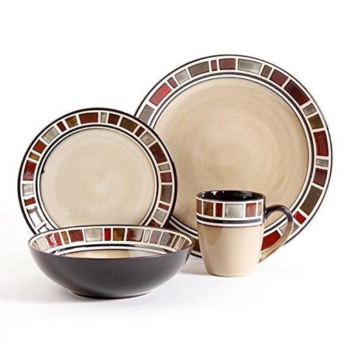 Gibson Elite Cimarron 16pc Dinnerware Set - service for 4 - includes 4 dinner plates - 4 dessert plates - 4 cereal bowls - 4 mugs