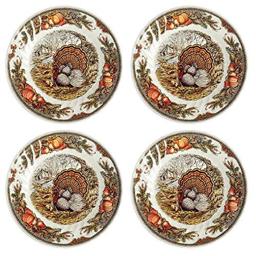 Queens Harvest Bounty Thanksgiving Turkey Porcelain Dinner Plates Set of 4