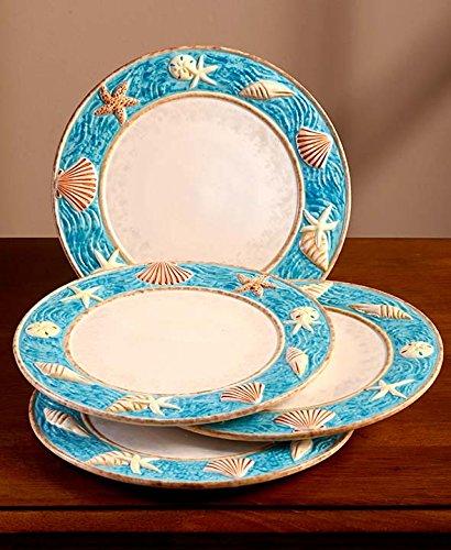 Seashell Coastal Cottage Dinnerware Dinner Plates 10-12 Dia Hand Painted Earthenware Set of 4