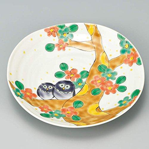 Japanese Ceramic Porcelain kutani ware Serving dish Salada plate Flower and Owl Japanese ceramic Hagiyakiya 206
