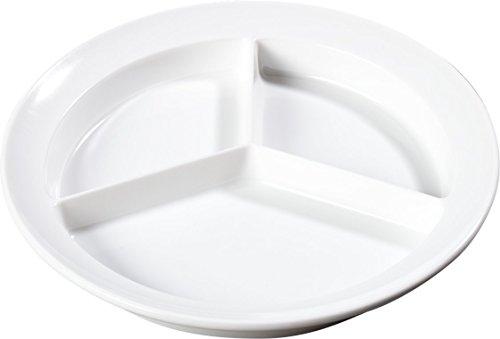 Carlisle KL20302 Kingline Melamine 3-Compartment Plate 8-2332 Diameter x 1-14 Height White Case of 12