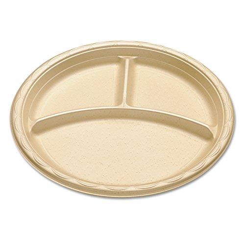 Enviroware Foam Dinnerware 3-Compartment Plate 10 Wheat 125pk 4 Packsct