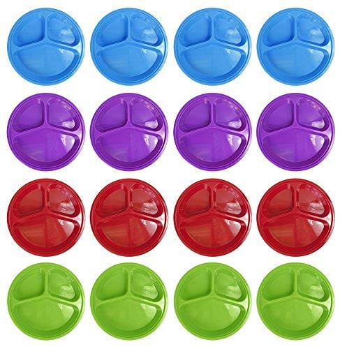 Set of 16 3 Compartment 10 Plates - 4 Different Colors 125 Depth - BPA FREE - Dishwasher Safe - Microwave Safe - Freezer Safe