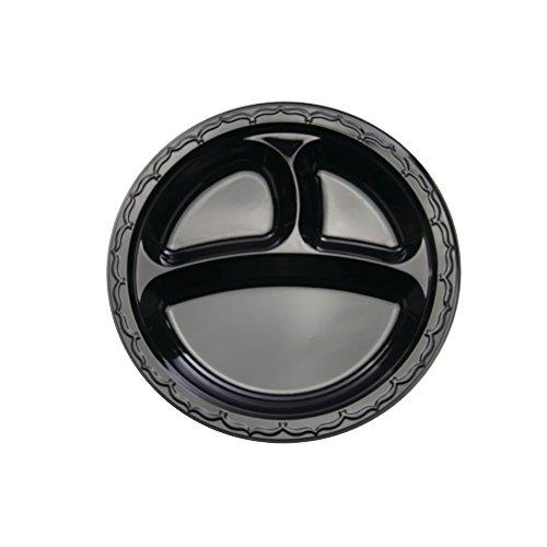 Silhouette Disposable Black Plastic 3-Compartment Plate - 10 14Dia