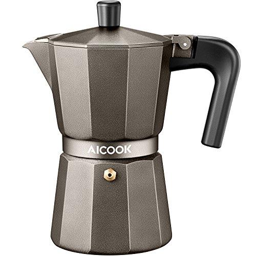 AICOOK Stovetop Espresso Machine 6 Cups Moka Pot Espresso and Coffee Maker for for Gas or Electric Ceramic Stovetop Espresso Shot Maker for Italian Espresso Cappuccino and Latte