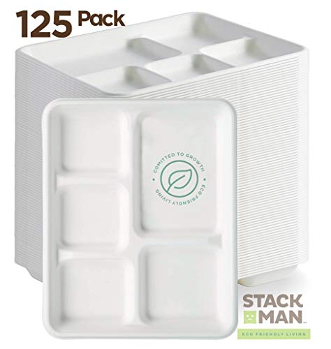 100 Compostable Paper Plate 125-Pack 5-Compartment Bagasse School Lunch Tray Heavy Duty Quality Disposable Tray Eco-Friendly Made of Sugar Cane Fibers