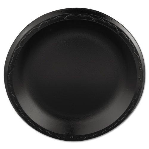 Genpak Elite Laminated Foam Plates 888 Inches Black Round 125Pack