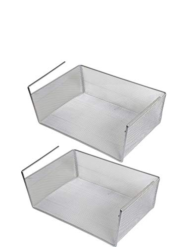 YBM HOME Under Shelf Basket 2-Pack Mesh Stainless Steel Storage Under Cabinet Hanging Basket Rack Maximize Space in Cabinets Pantry Room Bathroom Laundry Room and More 1131