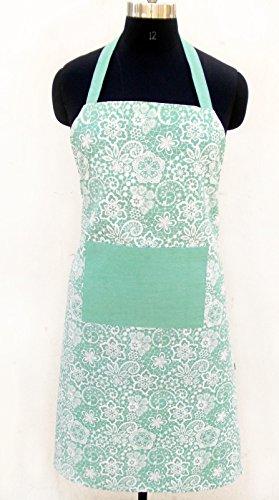 Mint Color Apron Cotton Kitchen Apron Lace Print Kitchen Accessory 100 Cotton Size 27x 35 Mint