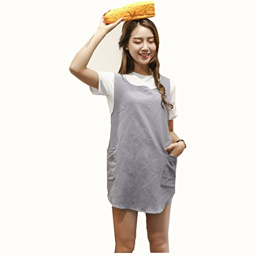 Soft Cotton Linen Apron Solid Color Halter Cross Bandage Aprons Japanese Style X Shape Double Pockets Round Skirt Kitchen Cooking Clothes Chef Summer Fit Light Grey