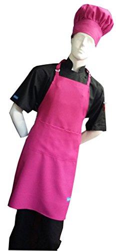 Chefskin Hot Pink Fuchsia Adult Chef Set Apronhat Adjustable Ultra Lite Fabric