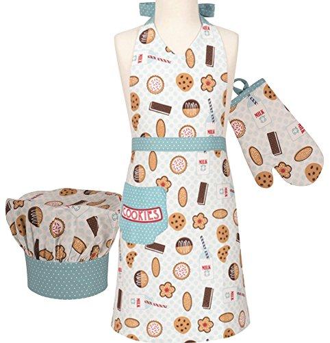 Handstand Kitchen Childs Milk and Cookies Apron Mitt and Chefs Hat Gift Set