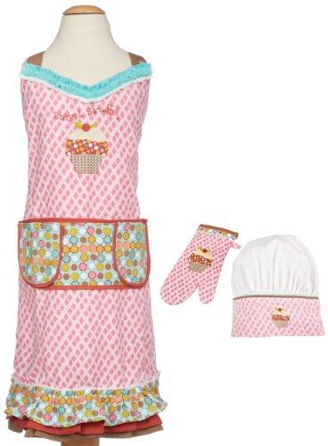 MUkitchen MiniMu Kids 3-Piece Cotton Chef Set with Apron Hat and Mitt Sweet Stuff
