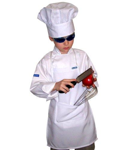 REG Chefskin Chef SET Kids Children Long Sleeve Jacket  Apron Hat Fits Kids 6-9