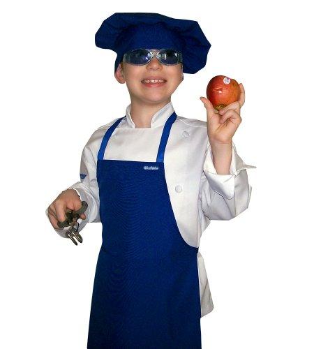 Small Children Kids Children Dark Navy Blue Chef Set Apron Adjustable Hat Quality Lite