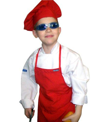 Small Children Kids Tomato Red Chef Set Apron Adjustable Hat Quality Lite