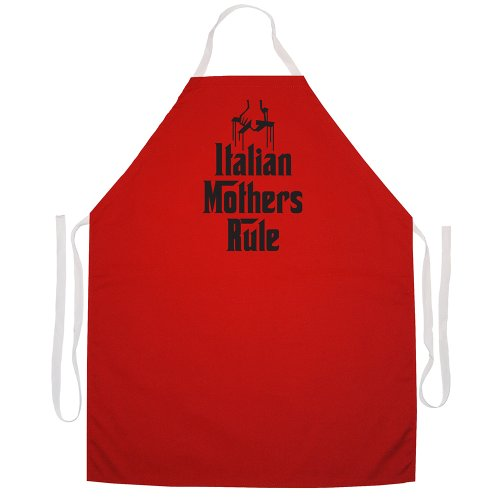 Attitude Aprons Fully Adjustable Italian Mothers Rule Apron-White