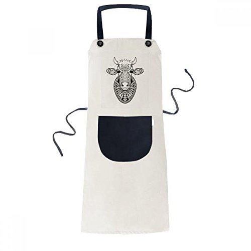 Animal Big Cow Picture Cooking Kitchen Beige Adjustable Bib Apron Pocket Women Men Chef Gift