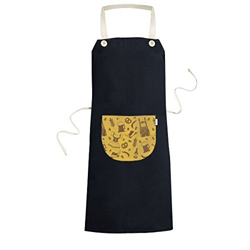 Germany Berlin Clothing Diet Culture Custom Illustration Pattern Cooking Kitchen Black Bib Aprons With Pocket for Women Men Chef Gifts