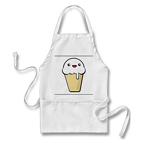 Julyou Cute Ice Cream Character Apron for Women Men White