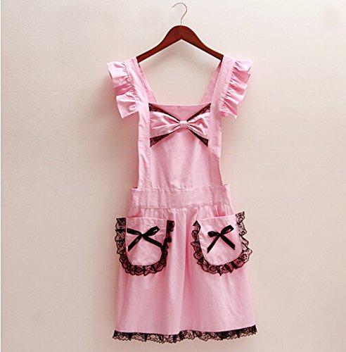 Korean aprons Lace Bow Lovely Princess Apron Cotton Apron Work aprons Pink