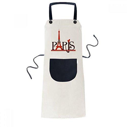 Eiffel Tower Paris France Country City Culture Cooking Kitchen Beige Adjustable Bib Apron Pocket Women Men Chef Gift