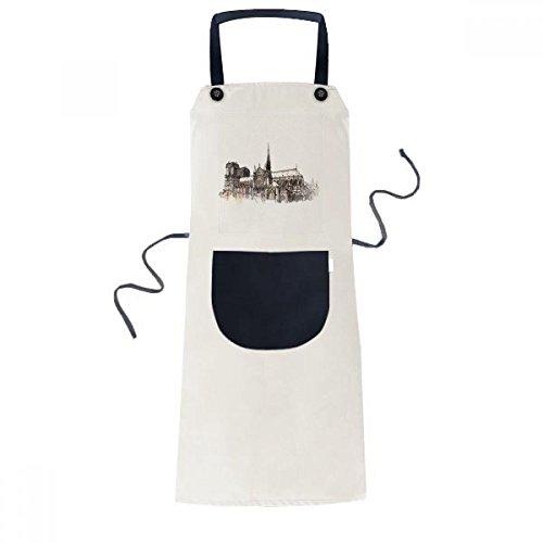 Notre-Dame de in Paris France Cooking Kitchen Beige Adjustable Bib Apron Pocket Women Men Chef Gift