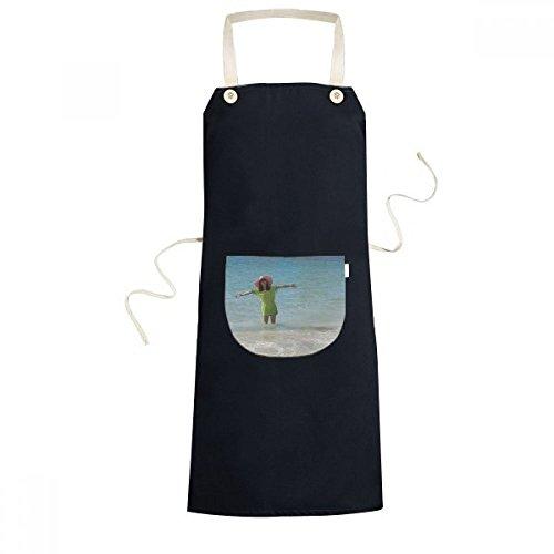 Beach Wave Sea Ellie Yao Beautiflu Girl Cooking Kitchen Black Adjustable Bib Apron Pocket Women Men Chef Gift