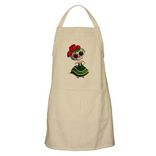 CafePress - El Dia De Los Muertos Skeleton Girl - Kitchen Apron with Pockets Grilling Apron Baking Apron