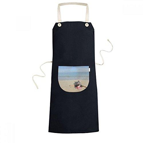 Ellie Yao Beautiflu Girl Picture Beach Sun Sea Cooking Kitchen Black Adjustable Bib Apron Pocket Women Men Chef Gift