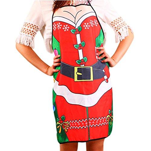 Vibola Christmas Chef Apron Kitchen Apron Funny Gift Sexy Party Apron D