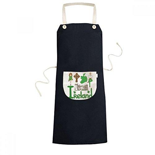 Ireland National symbol Landmark Pattern Cooking Kitchen Black Adjustable Bib Apron Pocket Women Men Chef Gift