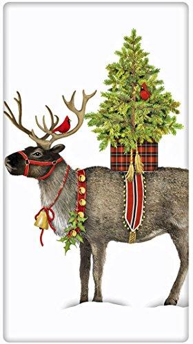 Christmas Reindeer Potted Tree 100 Cotton Flour Sack Dish Tea Towel - Mary Lake Thompson 30 x 30