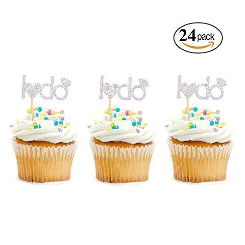 I Do Cupcake Topper Glitter Silver Engagement Wedding Engagement Bridal Shower Bachelorette Party Supplies