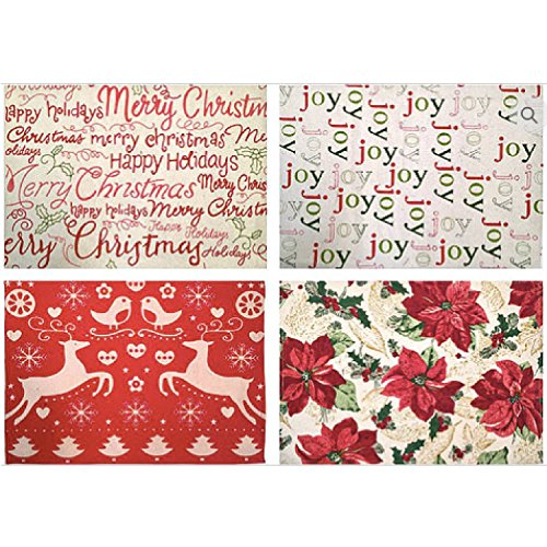 Christmas Red and Green Holiday Placemats -Set of 4-1Joy 1Merry Christmas Happy Holidays 1 Red Poinsettia 1 Reindeer Snowflake Turtle Dover