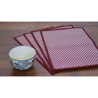 Vaayil Handmade Talipot Checkered Placemat Set of 4