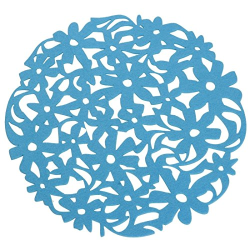 SODIALR Round Laser Cut Flower Felt Placemats Kitchen Dinner Table Cup Mats Cushion blue
